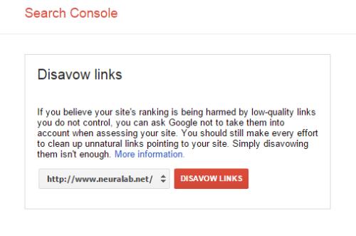 Selecting website in Google Disavow Tool