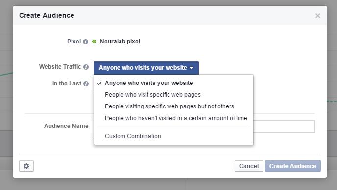 Facebook Pixel - Create custom audience