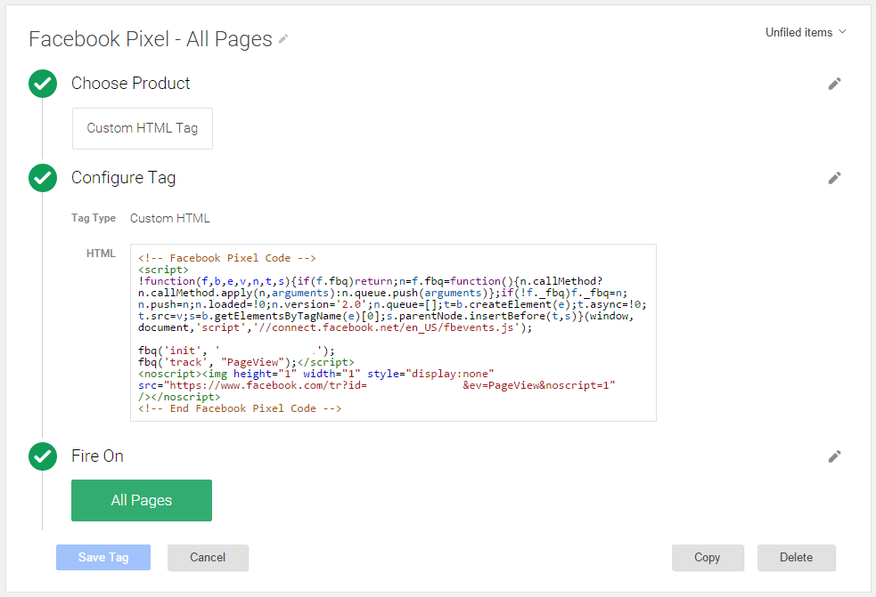 Install Pixel code with google tag manager