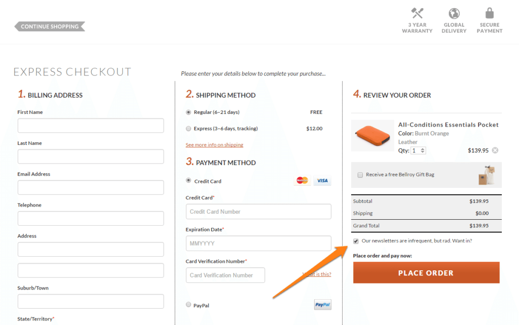 Checkout checkbox newsletter signup example